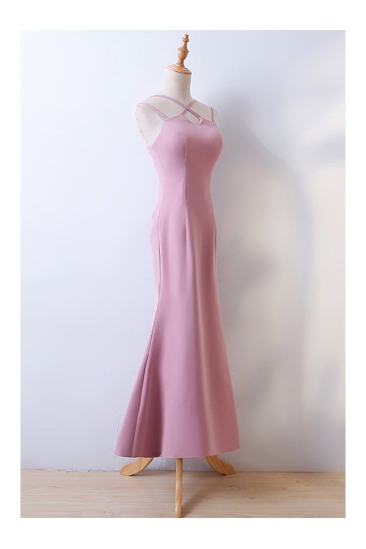 Simple Pink Tight Fitted Long Mermaid Prom Party Dress ...