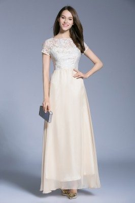 Nude Lace Chiffon Short Sleeve Long Dress