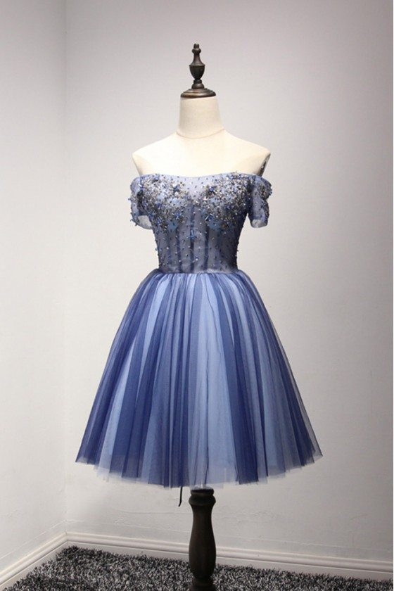 Beautiful Short Blue Homecoming Dress With Beading Off Shoulder Sleeves - AKE18106