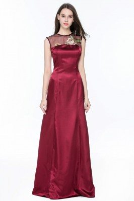 Sleeveless Embroidery Long Evening Gown