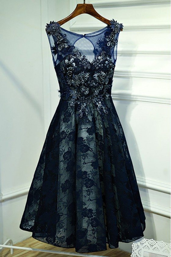 Gorgeous Navy Blue Lace Short Formal Party Dress With Appliques - MYX18143