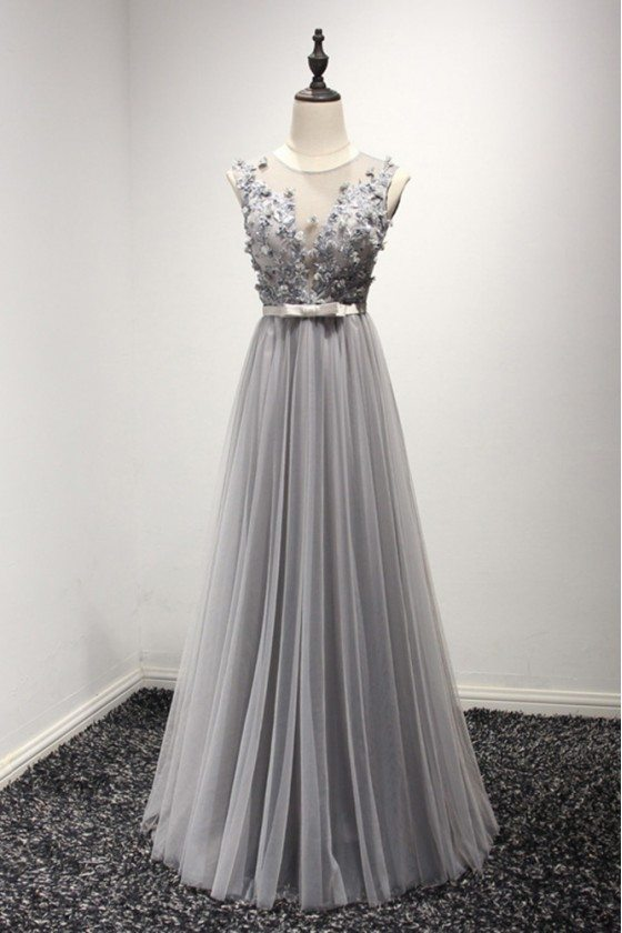 Unique Long Grey Tulle Evening Dress With Floral Beading Top