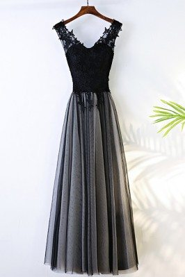 Formal Long Black V-neck...