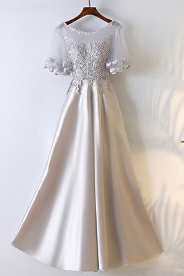 Silver Satin Long Party...