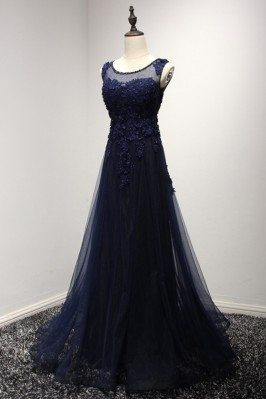 Vintage Dark Navy Blue Prom Dress Long With Lace Beading Top - AKE18102