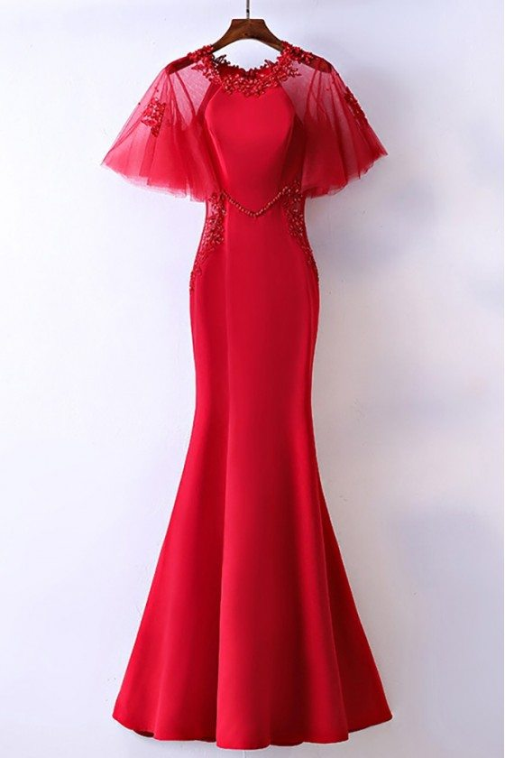Slim Satin Long Mermaid Formal Dress With Butterfly Sleeves - MYX18153