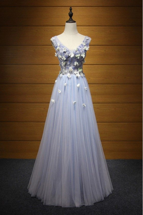 Unique Bluish Grey Prom Dress Long With Beaded Flowers For Girls - AKE18100