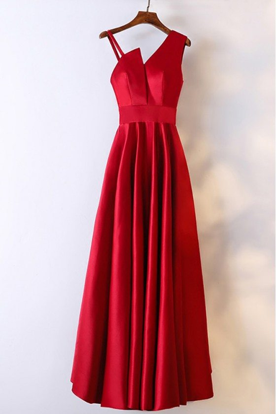 Classy Satin Burgundy Long Formal Dress With Asymmetrical Shoulder