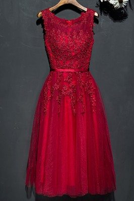 Short Lace Burgundy Lace Party Dress For Weddings - MYX18156
