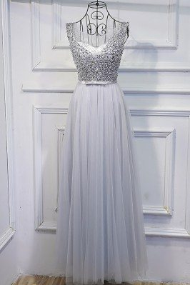 Silver Long Tulle Cheap Prom Dress With Sequins Bling - MYX18158