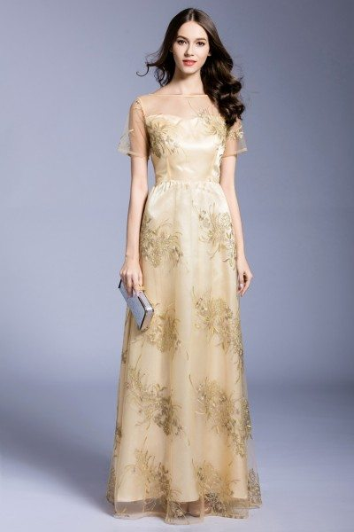 Yellow Embroidery Tulle Long Formal Dress
