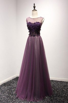 Elegant Purple Lace Beaded...