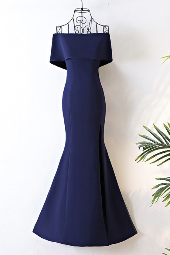 Long Navy Blue Satin Mermaid Formal Dress Off The Shoulder