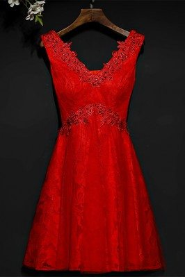 Short Red Beaded Lace High...