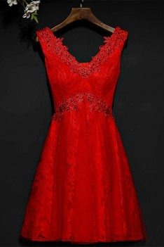 Short Red Beaded Lace High Waist Bridal Party Dress V-neck - MYX18161