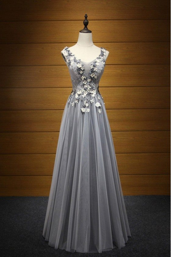 2018 Blackish Grey Long Party Dress With Floral Lace Beading Top