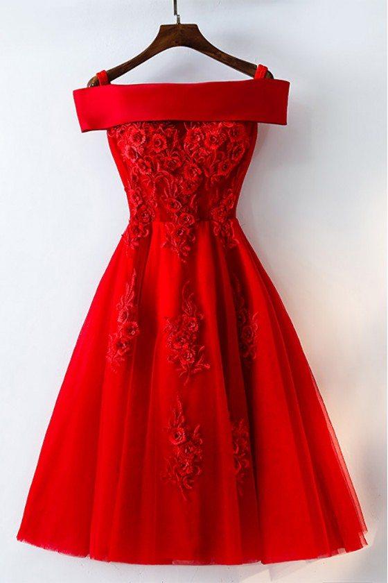Short Off Shoulder Red Lace Bridal Party Dress - MYX18171