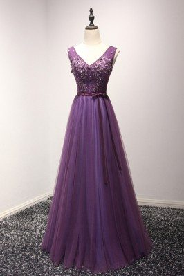 Gorgeous Purple Long Tulle...