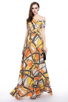Printed Off Shoulder Long Party Dress