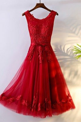 Pretty Red Lace Short Bridal Reception Party Dress Sleeveless - MYX18174