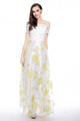 Floral Print Off Shoulder Long Occasion Dress