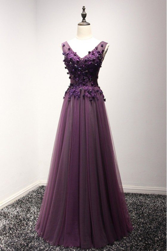 2018 Spring Long Purple Formal Dress Florals For Evening Party