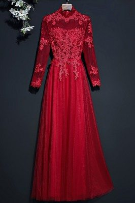 Vintage Lace High Neck Prom...