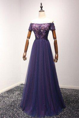 Beautiful Long Purple Prom...