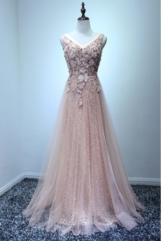 Sparkly Nude Pink Long Prom Dress With Sequins For Junior Girls