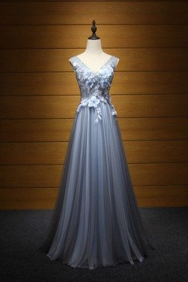Flowy Tulle Blue-black Prom Dress With Beading Flowers For Teens - AKE18083
