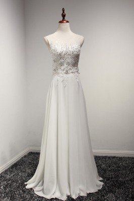 Elegant White Chiffon Prom...