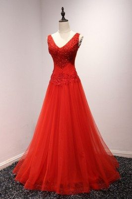 Shiny Sequins Red Tulle...