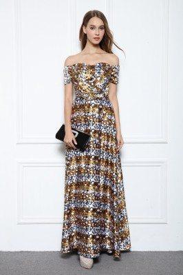 Animal Leopard Print Off Shoulder Long Occasion Dress