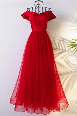 Lovely Red Off The Shoulder Bridal Party Formal Dress Long - MYX18223