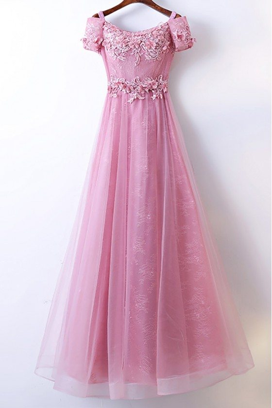 Beautiful Long Pink Prom Dress A Line With Off Shoulder Sleeves