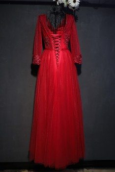 Formal Burgundy Long Formal Party Dress With Long Sleeves - MYX18227