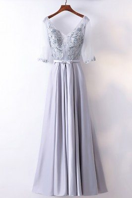 Gorgeous Silver Satin Long Party Dress V-neck With Sleeves - MYX18228