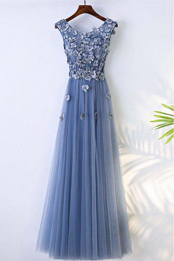 Trendy Dusty Blue Flowy Prom Dress Long With Flower Petals - MYX18243