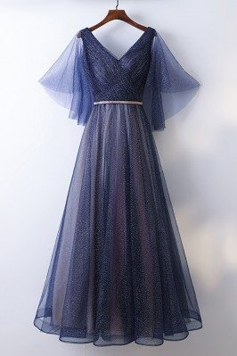 Beautiful Flowy Navy Blue Long Cheap Prom Dress With Bling - MYX18254
