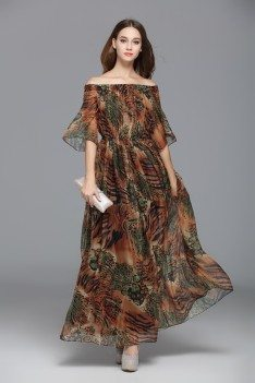 Unique Animal Print Off Shoulder Long Occasion Dress