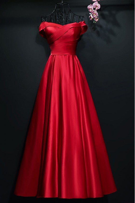 Simple A Line Satin Pleated Off Shoulder Formal Party Dress - MYX18257