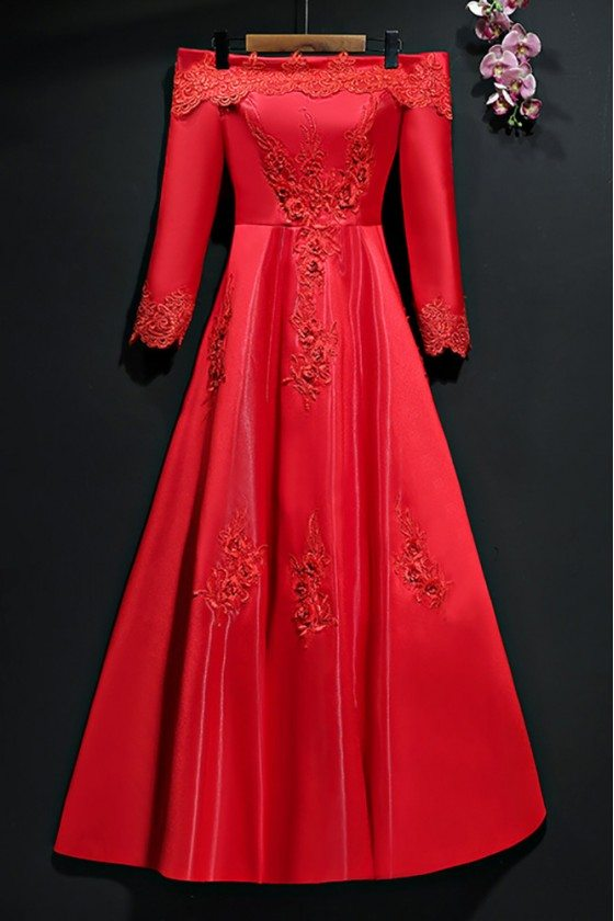 Different Burgundy Long Sleeve Formal Party Dress Off Shoulder