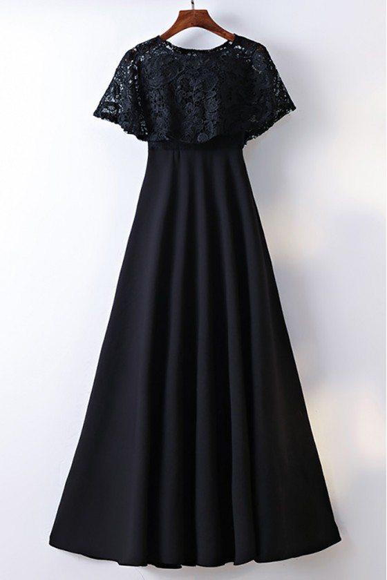 Classy Cape Sleeve Lace High Waist Long Formal Dress Black