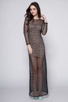 Black See-through Long Sleeve Party Dress