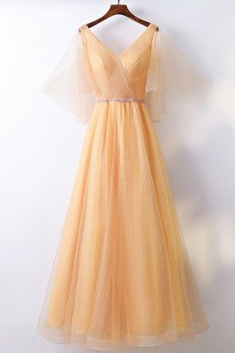 Classy Yellow Long Tulle...
