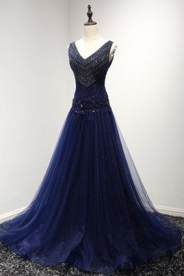 Shiny Beading Dark Navy...