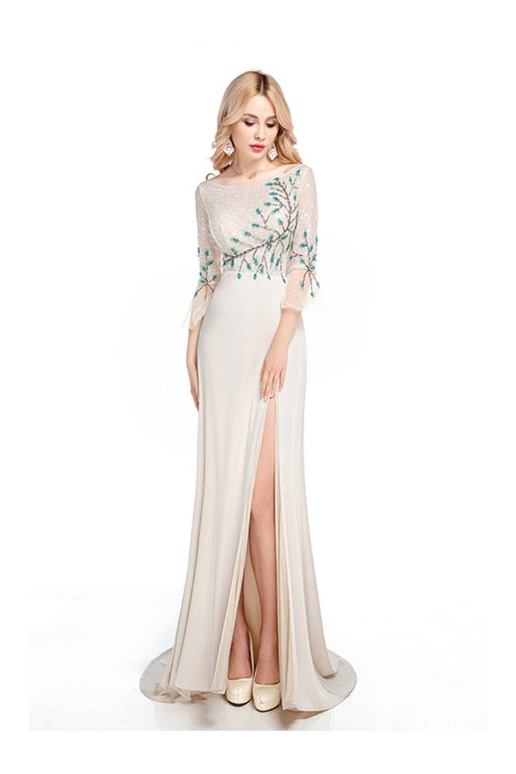 2018 Fitted Nude Long Sleeved Prom Dress Sequined With
