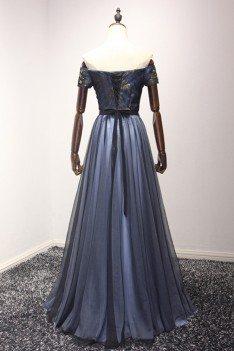 Bluish Black Beaded Long Formal Dress In Off The Shoulder Style - AKE18071