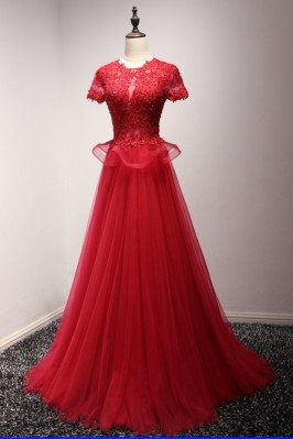 Modest Sparkly Long Red...