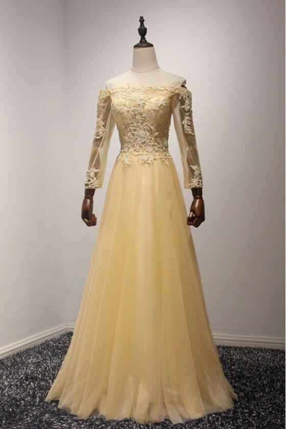 Applique Long Champagne Tulle Prom Dress With Off The Shoulder Sleeves